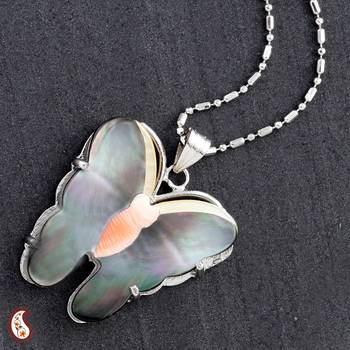 Multicolour Shell Butterfly Pendant