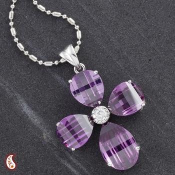 Flower shape silver CZ pendant