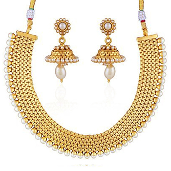 Modish Gold Plated Necklace Set For Women
