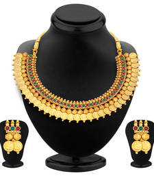 Buy Stylish Gold Plated Temple Jewellery Coin Necklace Set For Women necklace-set online
