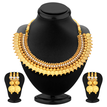 Astonish Gold Plated Temple Jewellery Coin Necklace Set For Women