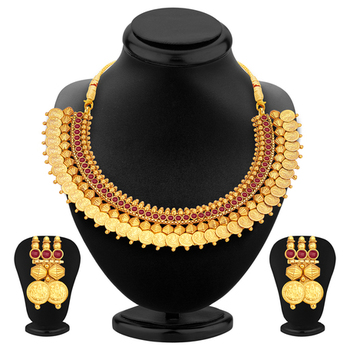 Marvellous Gold Plated Temple Jewellery Coin Necklace Set For Women
