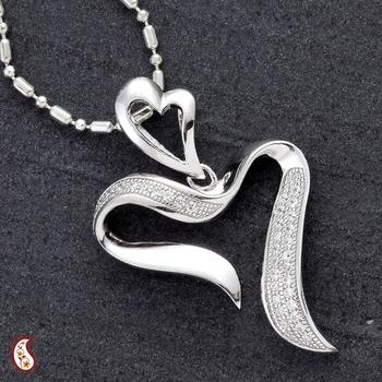 Heart shaped CZ pendant in silver