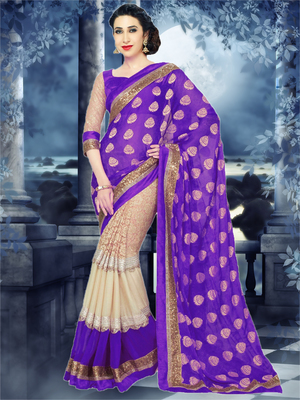 purple and Beige embroidered georgette saree with blouse