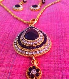 Buy Ethnic indian jewelry bollywood black tear drop diamentes necklace set b292k Pendant online