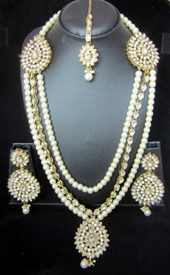 Crystal Stone Pearl Gold Plated Long Necklace Earring Tika Set