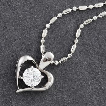 Round White CZ Heart Pendant