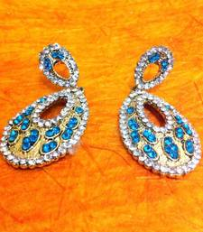 Buy Oval turquoise firozi stones diamentes ethnic earring h164t gifts-for-girlfriend online