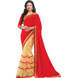 Buy Red printed net saree with blouse party-wear-saree online