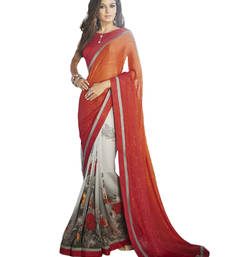 Buy Orange printed georgette saree with blouse party-wear-saree online