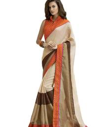 Buy Orange printed cotton saree with blouse party-wear-saree online