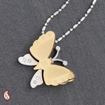CZ stud Butterfly Pendant