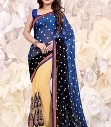 Buy navy_blue embroidered georgette saree with blouse half-saree online
