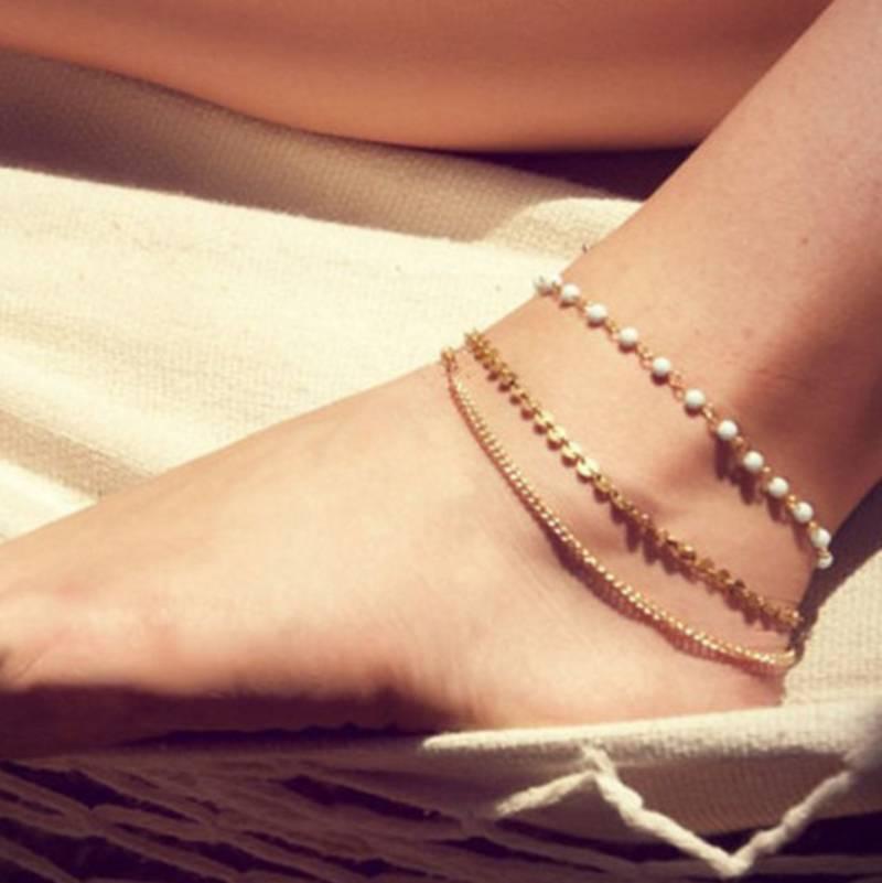 Buy 1 Leg Fashion Beach Multi Tassel Pearl Anklet Chain Payal Foot ...