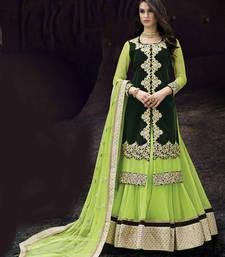 Green Embroidered Net Semistitched Lehenga Choli With Blouse