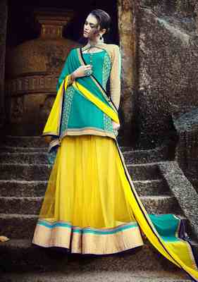 Yellow Embroidered Net Semistitched Lehenga Choli With Blouse