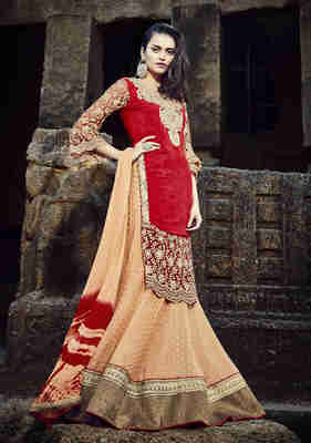 Orange Embroidered Faux Georgette Semistitched Lehenga Choli With Blouse