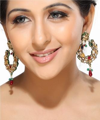 Multicolour Kundan Hoop Earrings