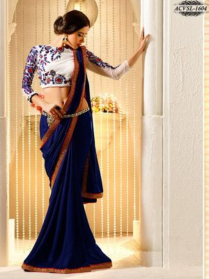 navy_blue embroidered georgette saree with blouse