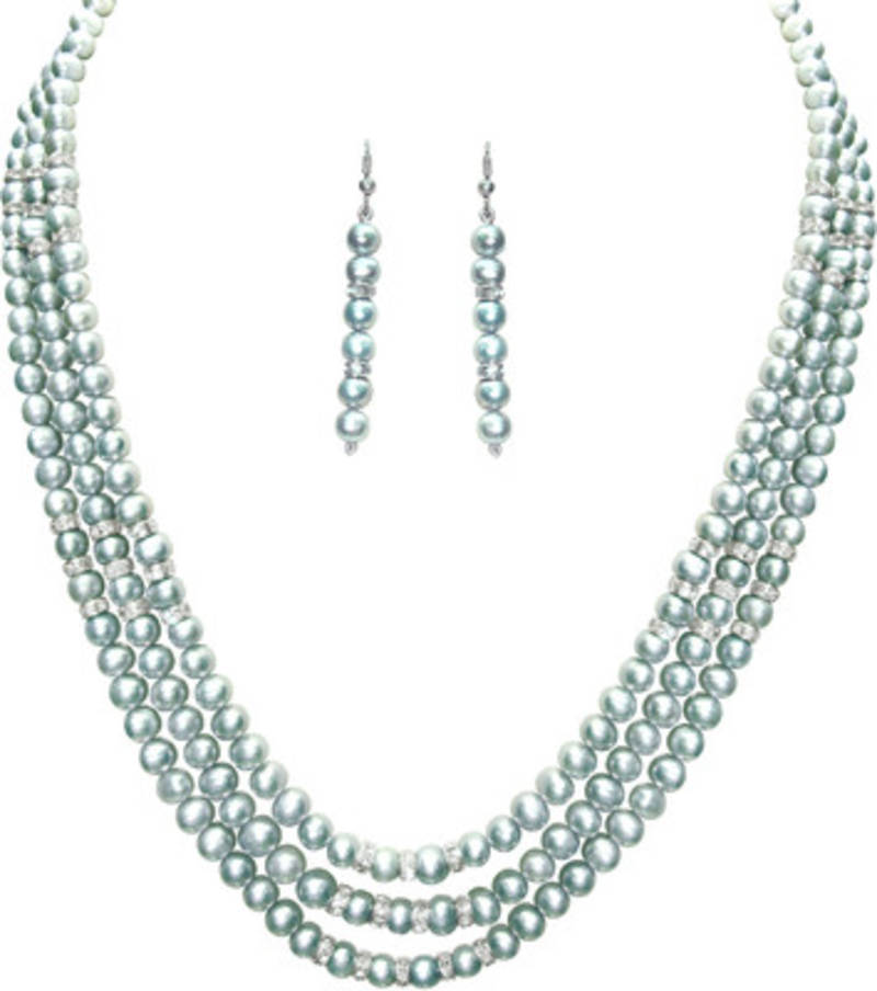 String Pearl Necklace: Buy Three String Grey Color Pearl Necklace Set With White