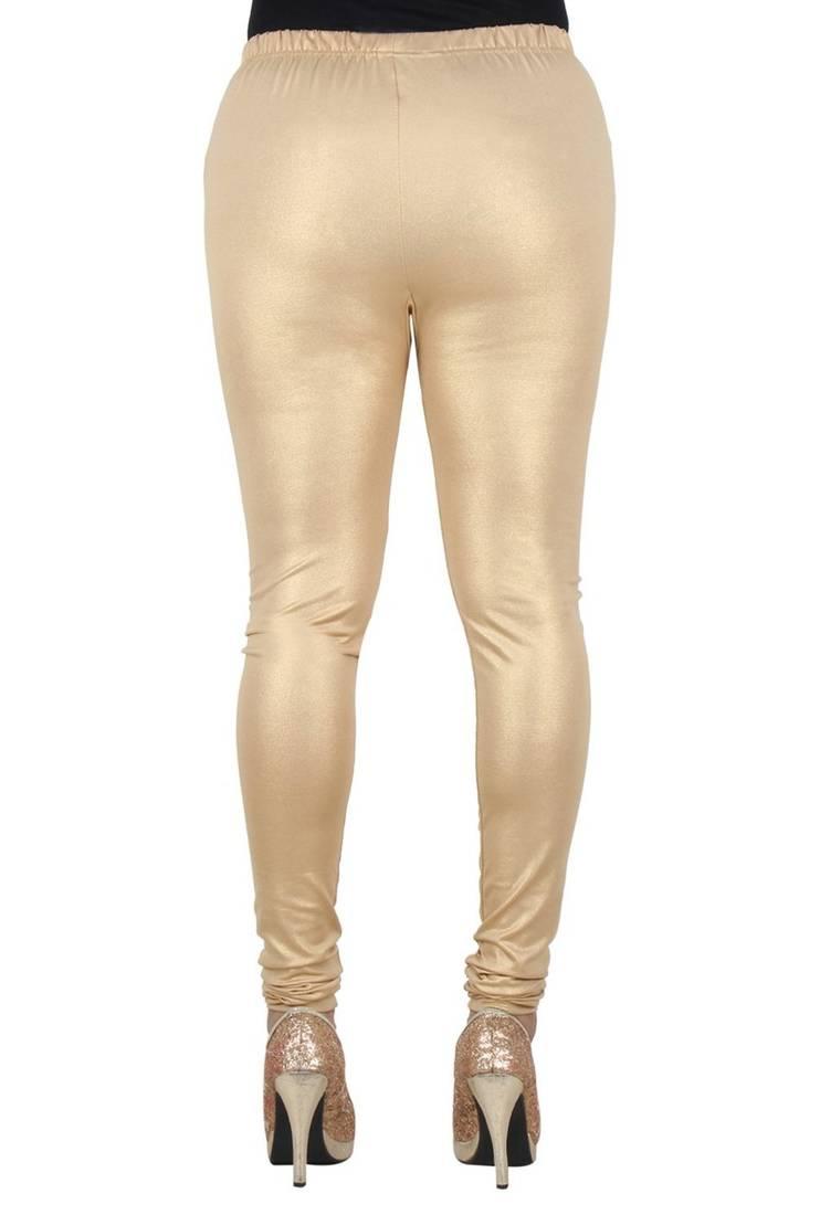 Buy Light Gold Shimmer Plain Leggings Online