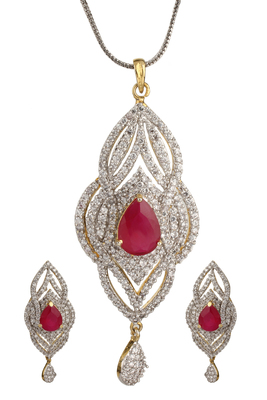 HAPPINESS Collection Pink Long Party Wear Pendant Set For Women