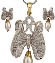 Buy HAPPINESS Collection Pearl Drop Party Wear Butterfly Pendant Set For Women Pendant online