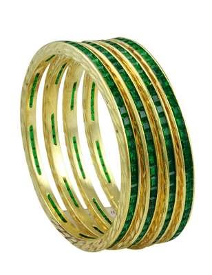 Green CZ AD American Diamond Bangles Jewellery for Women - Orniza