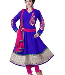 Buy Alluring Navy Blue & Pink Semi-Stitched Georgette Embroidered  Anarkali  Suit D.No ZO7502 dress-material online