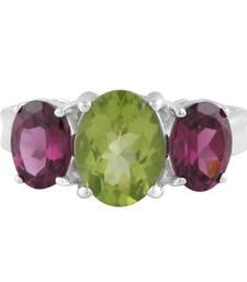 Buy Peridot   green silver plated rings gemstone-ring online