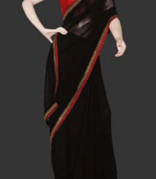 Buy Eternal black red georgette-saree online