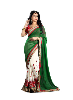 8610f6979af3c9 Buy green embroidered georgette saree With Blouse Online