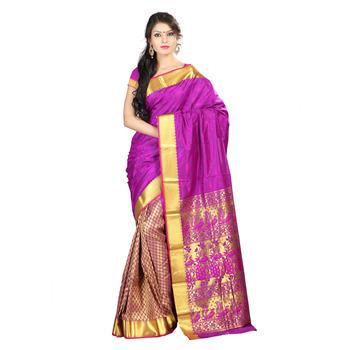 Magenta woven Art-Silk saree With Blouse