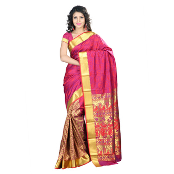 Red woven Art-Silk saree With Blouse