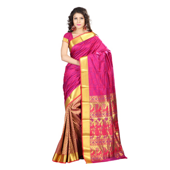 Pink woven Art-Silk saree With Blouse