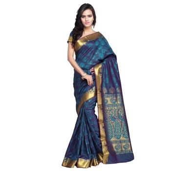 Dark_Green woven Art-Silk saree With Blouse