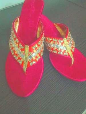 pink plain silk footwear