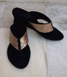 Buy Black plain fancy fabric footwear wedges-shoe online