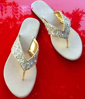 silver plain fancy fabric footwear