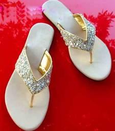 Buy silver plain fancy fabric footwear eid-footwear online