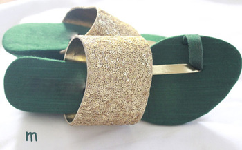 green plain silk footwear