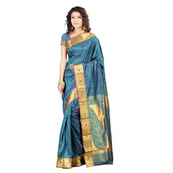 Dark Green woven art silk saree With Blouse
