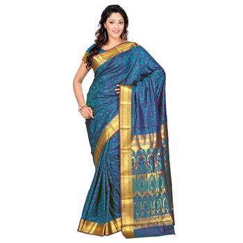 Dark Green woven art silk saree With Blouse