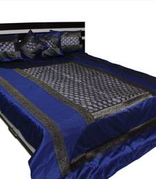 Blue polysilk bed cover