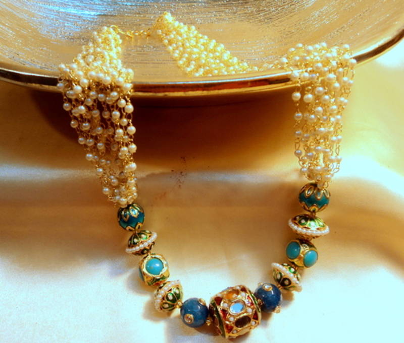 Kanjivaram Beads: Rajwara Jaipuri Beads And Pears Royal Neckpiece