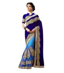 Buy Blue embroidered  Velvet and Net saree With Blouse wedding-saree online