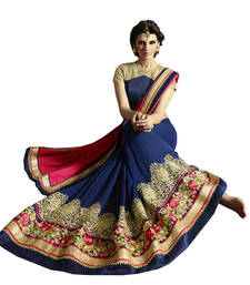 Buy Pink and Blue embroidered Georgette saree With Blouse wedding-saree online