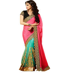 Buy Pink and Green embroidered Georgette and Net  saree With Blouse wedding-saree online