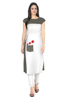 White printed Faux Crepe long-kurtis