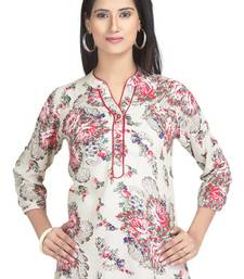 Buy Beige floral print rayon tunic tunic online